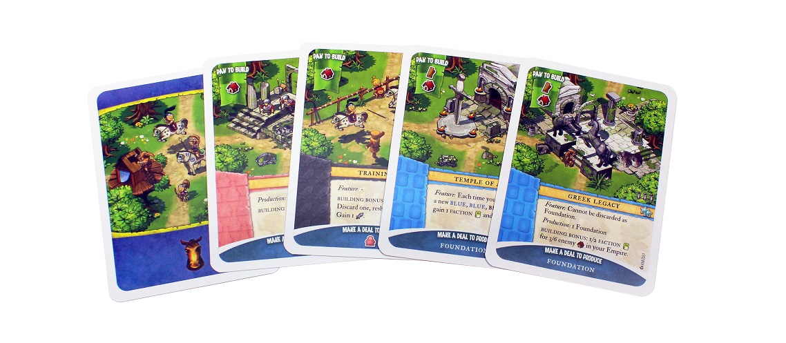 five red 'Pay to Build' cards from the game spread out on flat surface