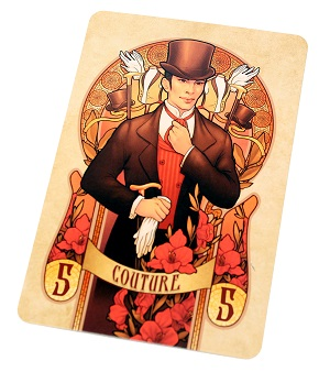 one game card, depicting a man wearing a suit and hat, with the word 'Couture' appearing on a banner