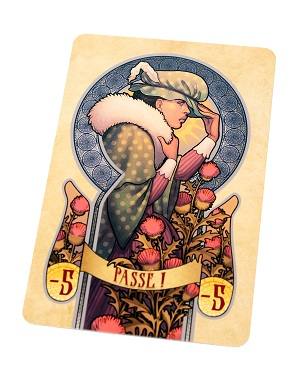 a single face-down card, with its cardback featuring artwork of a game character with the word 'Passe!' appearing in the lower bottom part of the card