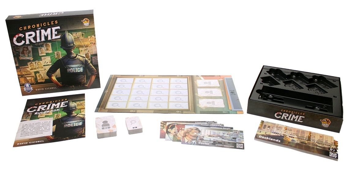 Game components of Chronicles of Crime, including board game box, rulebook, game board, and game cards