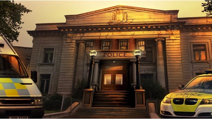 Game art depicting the front of the police station with a police van and police car parked in front, on either side