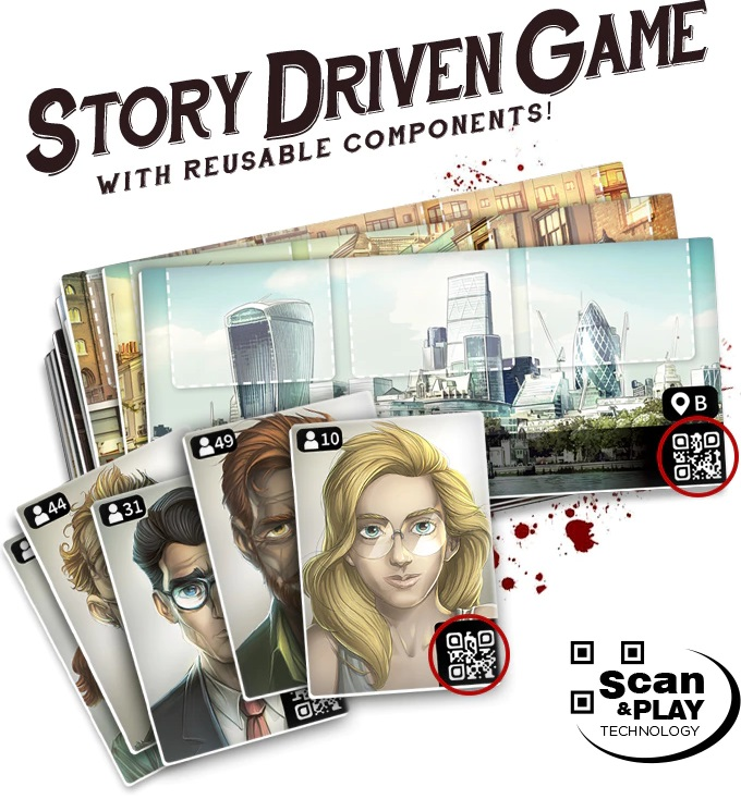 game advertisement graphic showing player cards, game cards, and QI codes with the words 'Story Driven Game with Reusable Components!' and 'Scan and Play Technology'