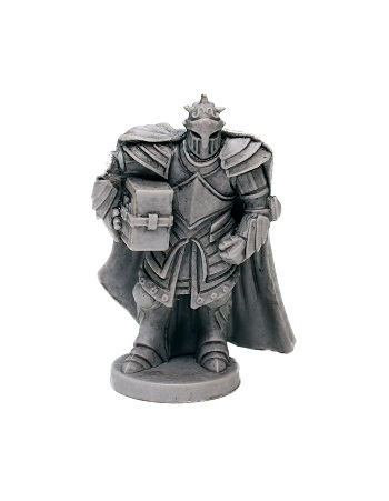 a miniature from the game; a stout knight carrying a sledgehammer