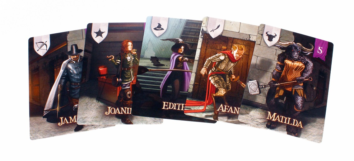 five character cards from the game, with art depicting various characters