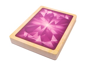stack of game cards, with the cardback being a bright color of pink