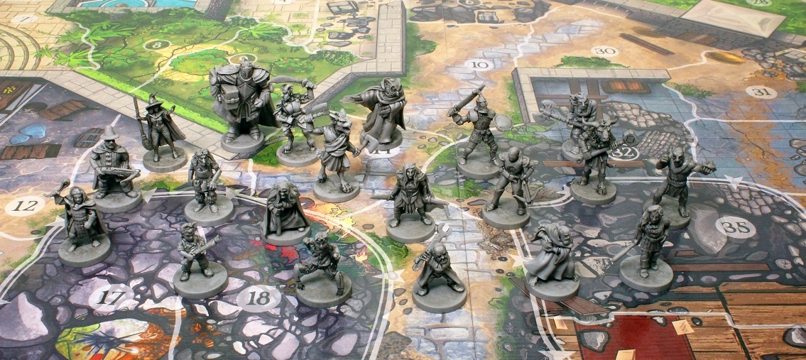 several gray miniatures laid out on the game board