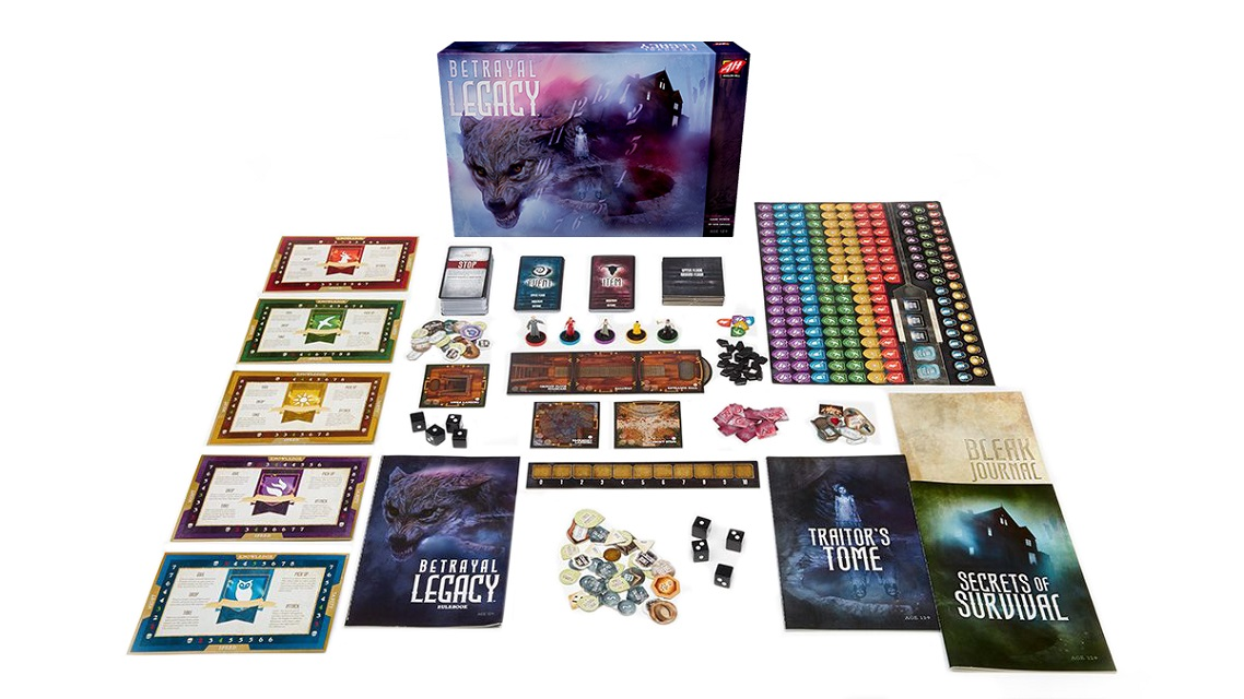 Betrayal Legacy game box, booklets, punchboard tokens, tracker boards, plastic miniatures, black dice, cards, and more on display