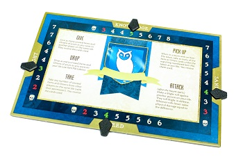 Blue family card with owl artwork and ability references