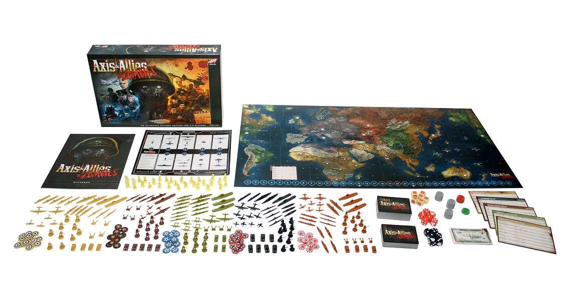 Axis Allies and Zombies ruleobok, game board, dice, plastic miniatures, zombie cards, currency, and more components on display
