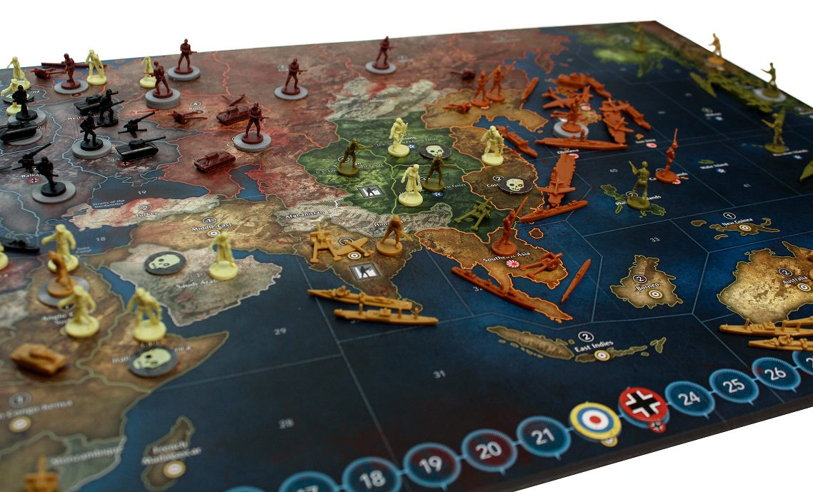 Game board with miniatures and tokens during mid-game state