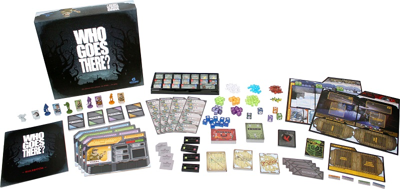 all components of game laid out, including board game box, rulebooks, tokens, minis, cards, player boards, and game board