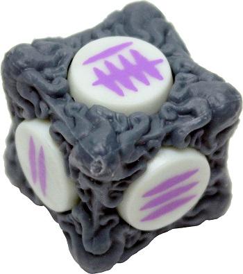 a stylized dice, gray with purple symbols