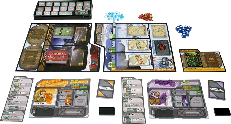 components of the game laid out, including game board, player boards, cards, minis, tokens, and dice