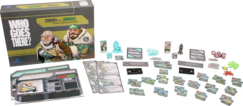 all the components of Who Goes There: Blair and Clark Character Expansion laid out, including board game box, rulebooks, minis, cards, and tokens