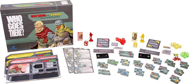 all the components of Who Goes There: Van Wall and Norris Character Expansion laid out, including board game box, rulebooks, minis, cards, and tokens
