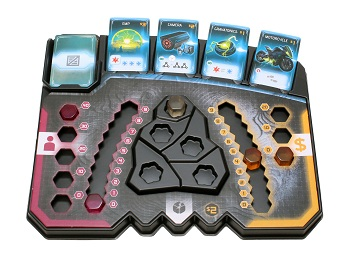 Plastic game tray with trackers and item cards
