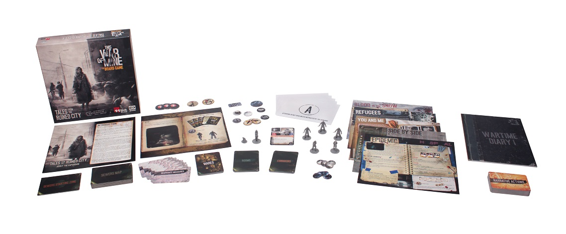 This War of Mine: Tales From the Ruined City game box, booklets, miniatures, and components full display