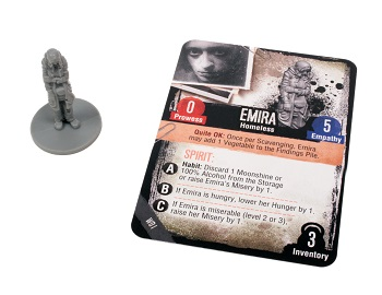 Emira character card with unpainted plastic character miniature