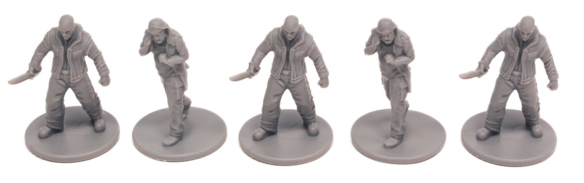 Five unpainted plastic thug and farmer miniatures displayed in a row