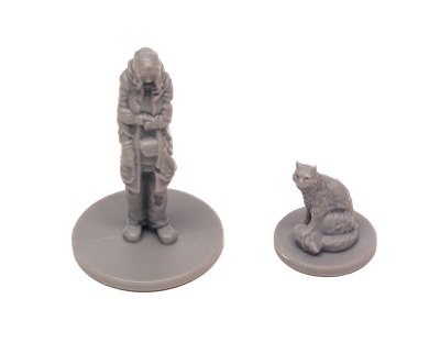 Unpainted plastic character and cat miniatures