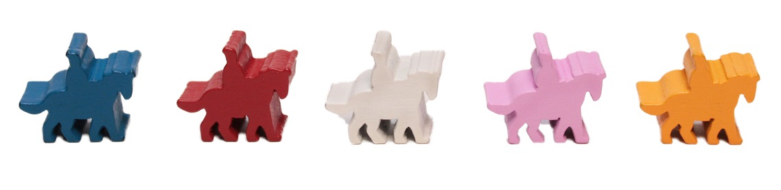 five wooden game miniature game pieces, in the shape of a person riding a horse, and in the colors of blue, red, white, pink, and orange