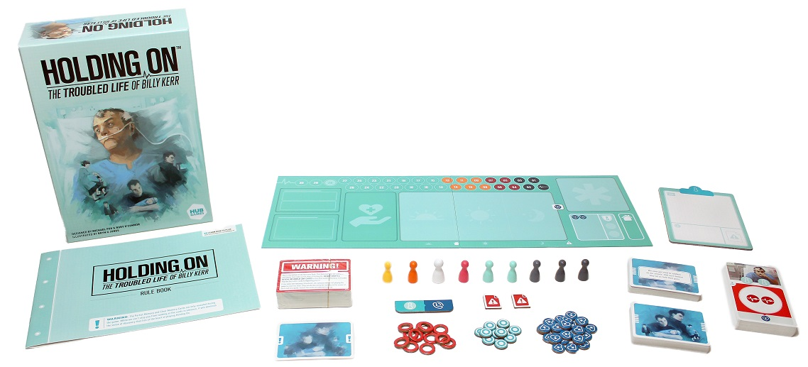 game components spread out on display, including board game box, cards, rulebook, game board pieces, tokens, and clipboard notepad