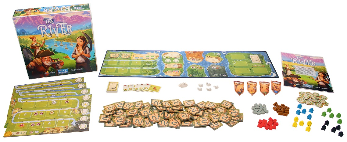 The River game box, board, and tokens components on display
