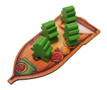 Flat punchboard boat with four green meeples
