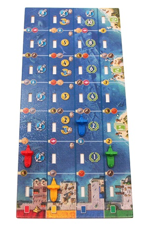 7 Wonders: Armada Expansion game board with four plastic ship miniature game pieces placed upon it