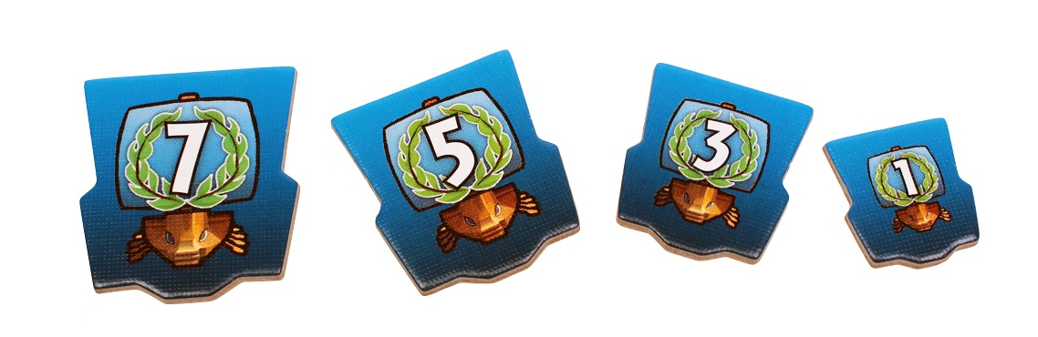 closeup of 7 Wonders: Armada Expansion cardboard game pieces, including numbers 1, 3, 5, and 7