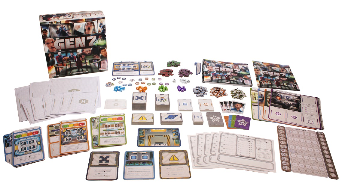 all game components spread out on display, including board game box, cards, tokens, game pieces dice, player boards, character boards, scoresheet, and rulebooks