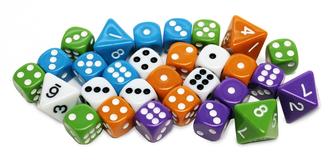 a large group of dice in the colors of white, blue, orange, green, and purple; includes 6-sided and 8-sided dice