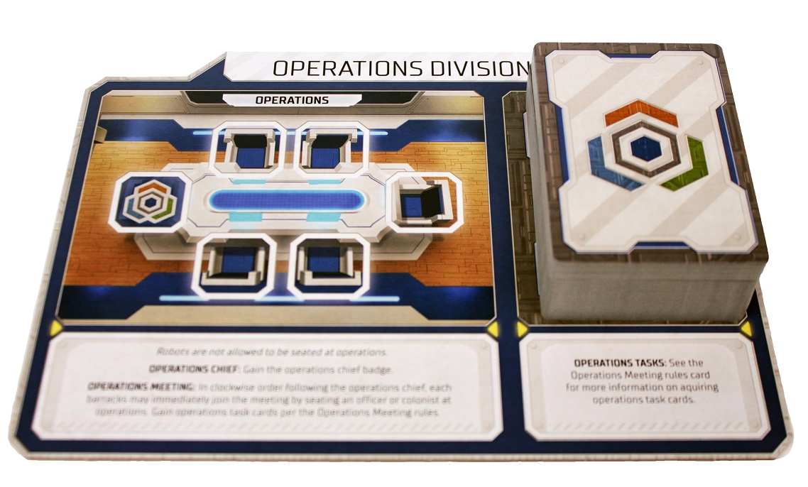 closeup of a 'Operations Division' game board, with a stack of game cards placed upon it