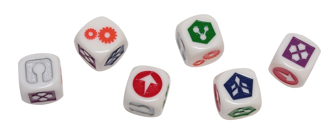 Six plastic white dice with engraved multicolored icons