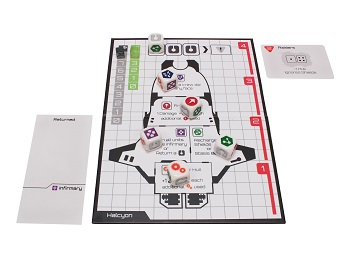 Deep Space D-6 setup with game board and dice