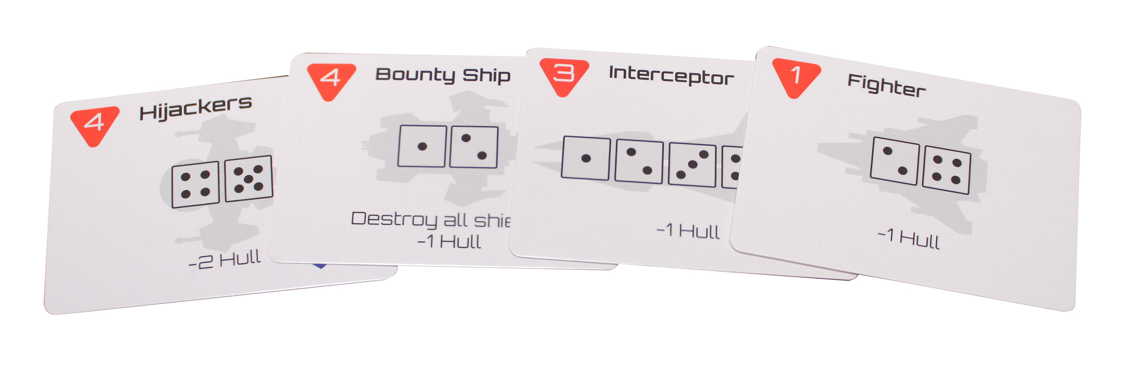 Four threat cards with dice icons and card effects