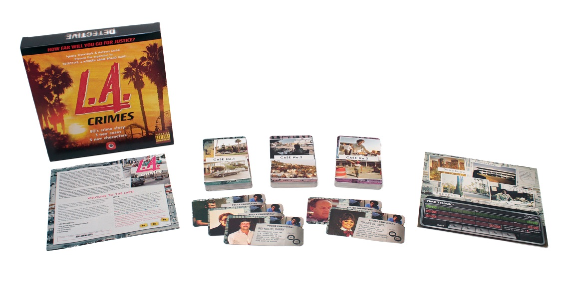 An image of the components for Detective LA Crimes expansion laid out to display the contents of the box.