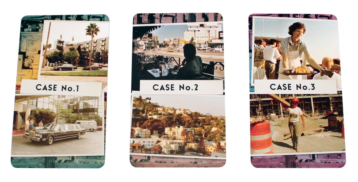 An image of the three case file decks from Detective LA Crimes Expansion laid out side by side.