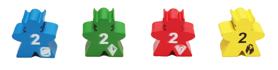 Four yellow, blue, green, and red viking meeples with the number 2 printed on the front