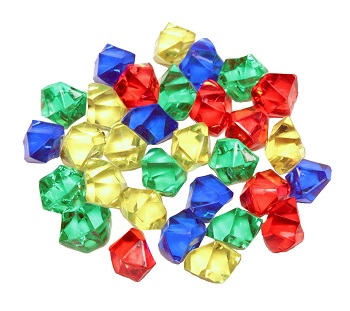 Yellow, blue, red, and green translucent plastic gem components
