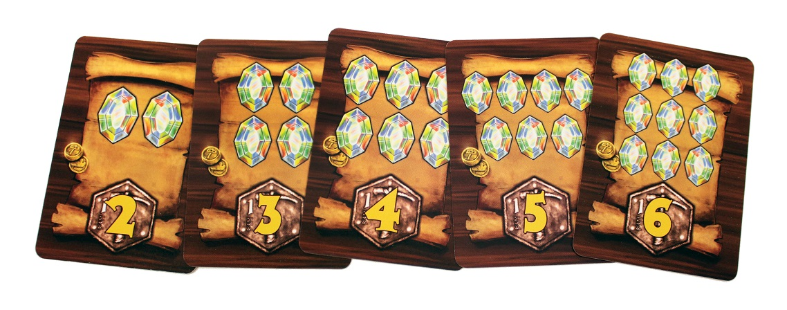 Five punchboard retangular components displaying gem costs and victory point rewards