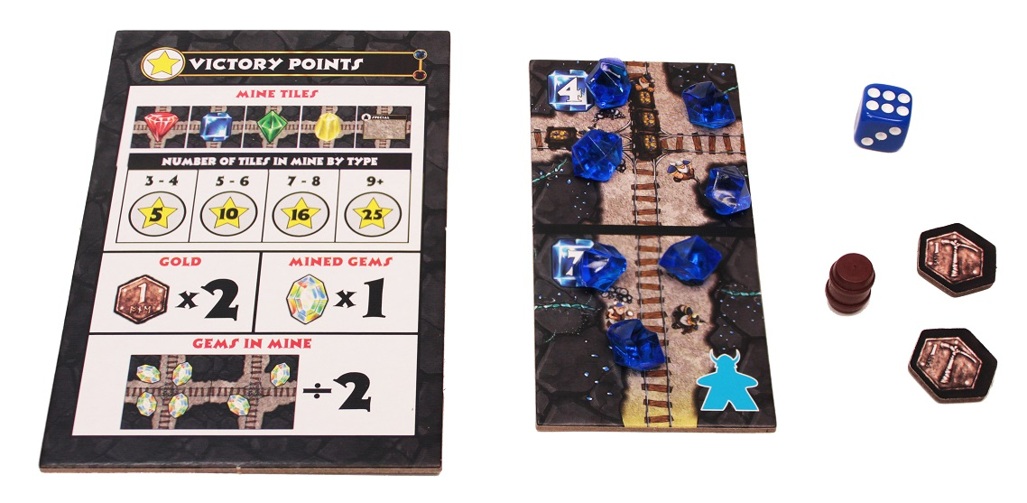 Victory point tracker and mine track punchboard tiles with blue gem components