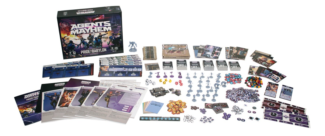 Agents of Mayhem Babylon Bundle game components, including minis, game pieces, game box, player boards, cards and rulebook