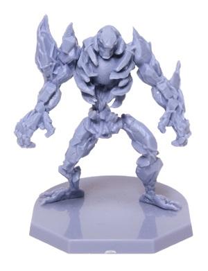 plastic miniature game piece, light blue robot