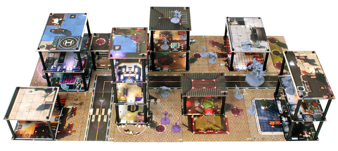 Multi-tiered game setup with miniatures, brown game board with hexagonal pattern
