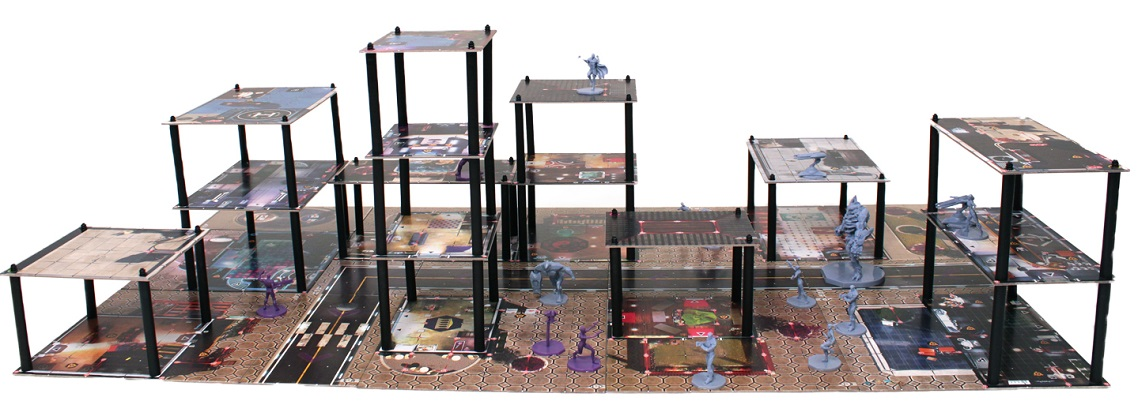 side view of multi-tiered game setup with miniatures, brown game board with hexagonal pattern