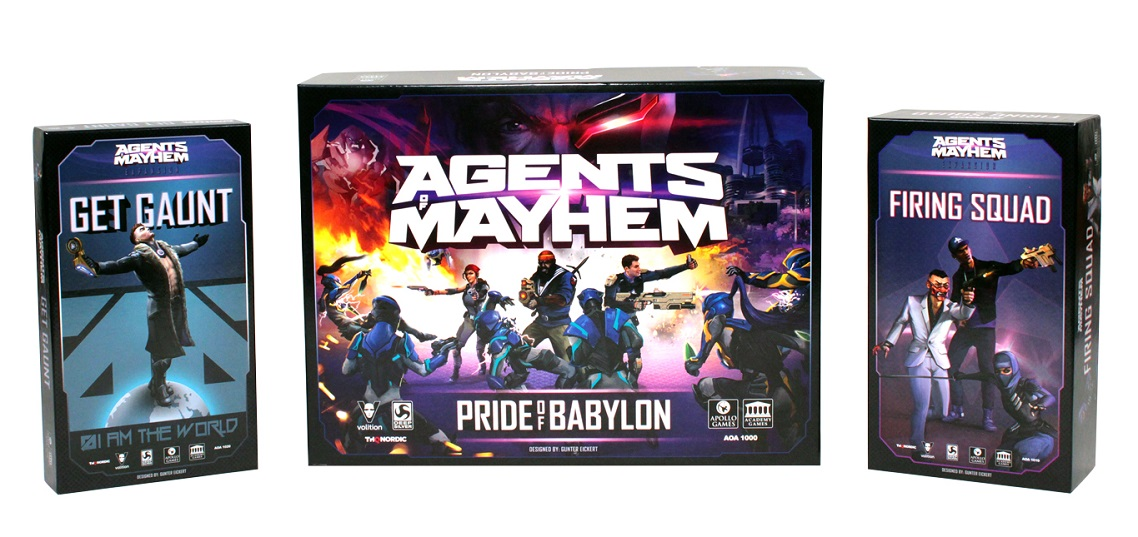 Board game boxes of Agents of Mayhem games, including Get Gaunt, Pride of Babylon, and Firing Squad