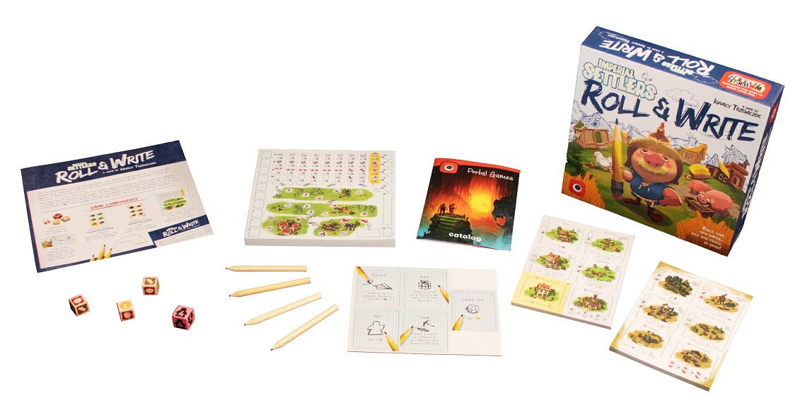 Roll and Write components laid out on display, including rulebook, board game box, pencils, dice, player boards, and game boards