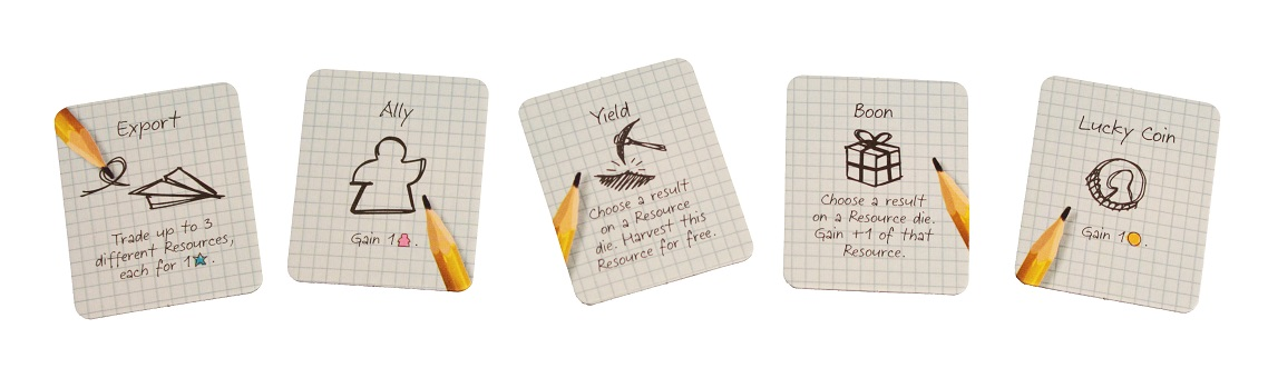 five cards from the game illustrating different aspects of game play, including 'Expo', 'Ally', 'Yield', 'Boon', and 'Lucky Coin'