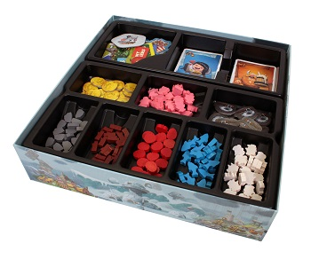 bottom half of game board box showing components such as tokens, miniature game pieces, cards, and game tiles